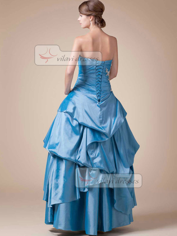 Princess Strapless Floor-length Stretch Satin Pick-Ups Prom Dresses