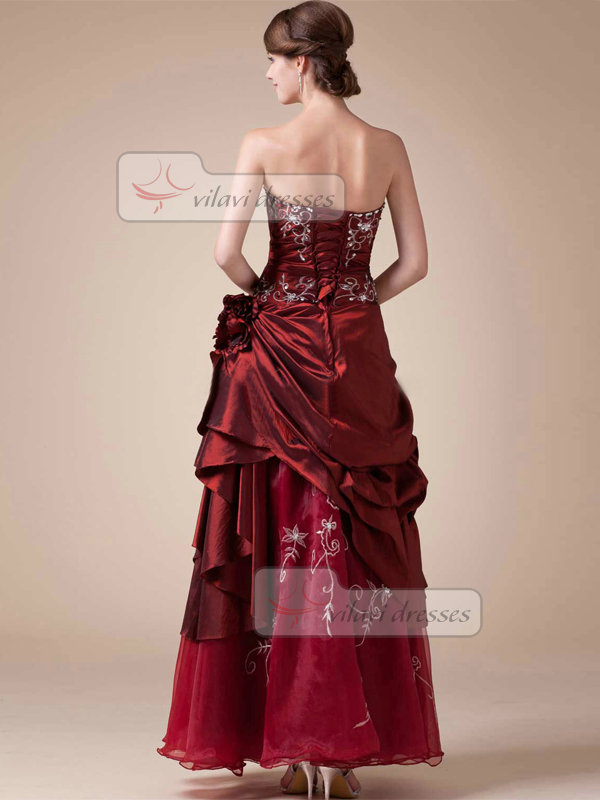 A-line Tube Top Ankle-length Stretch Satin Side-draped Prom Dresses With Crystal