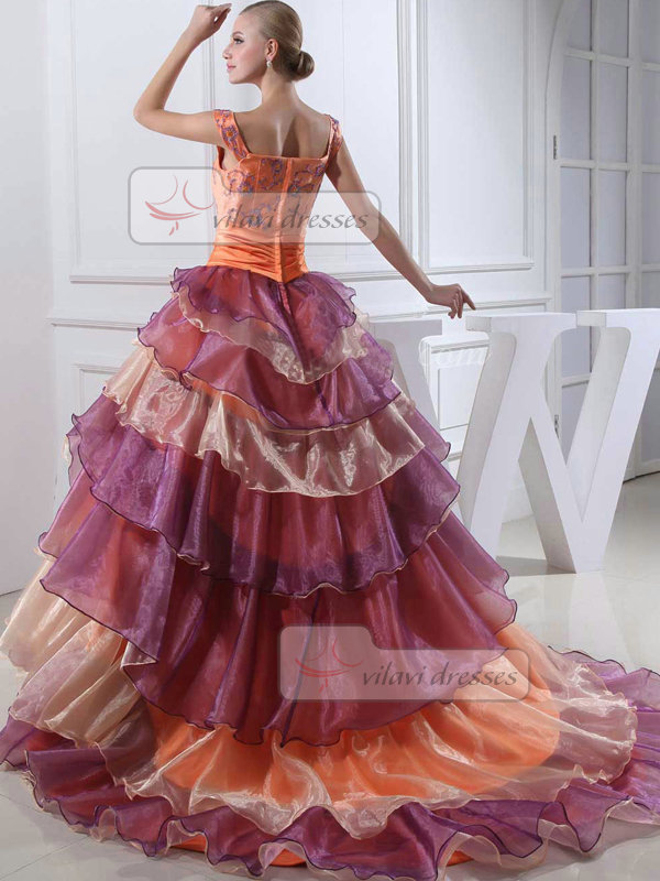 Ball Gown Straps Court Train Organza Tiered Beading Prom Dresses