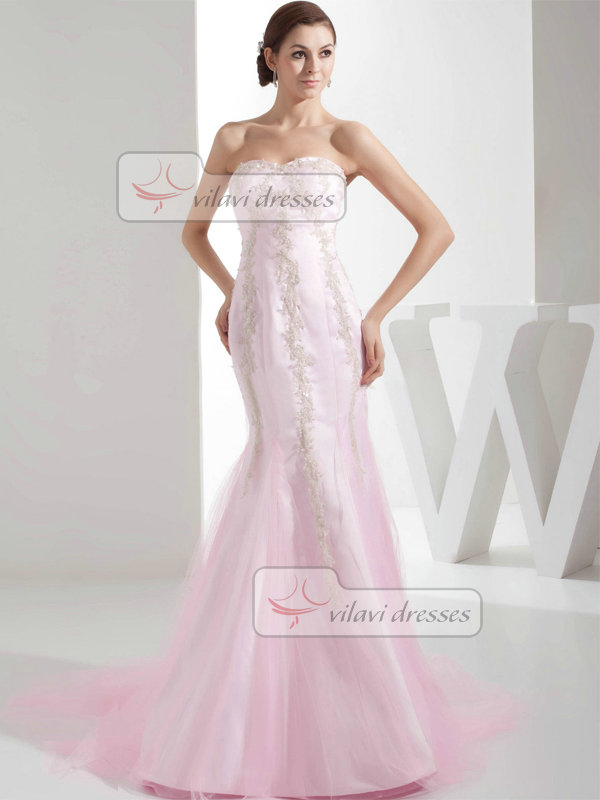 Mermaid Strapless Sweetheart Brush Train Tulle Appliques Prom Dresses