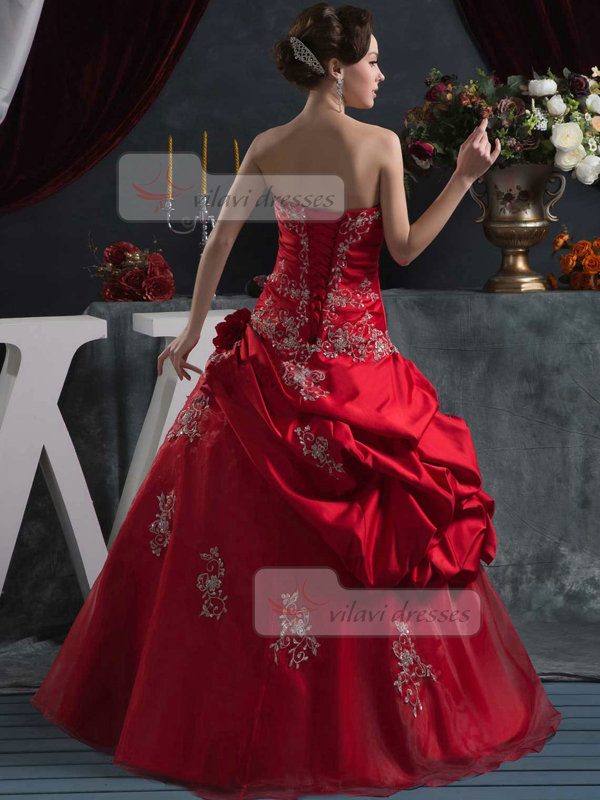 Over Hip Strapless Floor-length Tulle Crystal Quinceanera Dresses