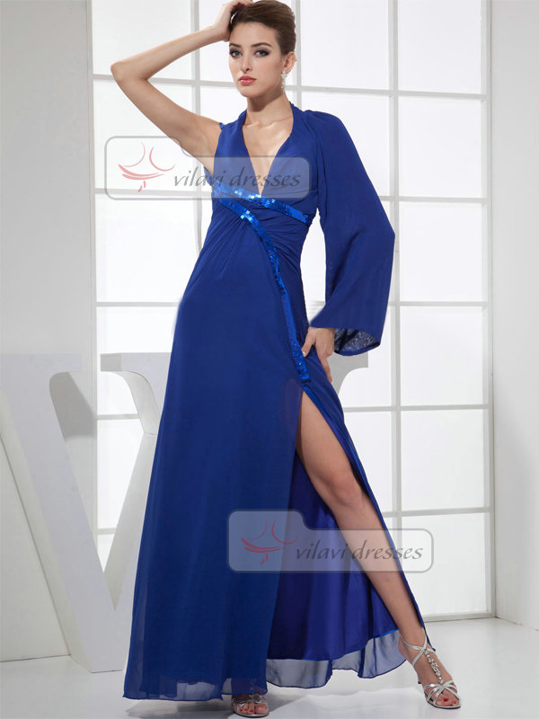 A-line V-neck Floor-length Chiffon Split Front Prom Dresses