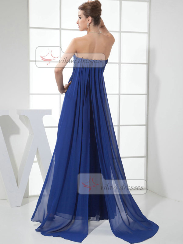 A-line Strapless Floor-length Chiffon Split Front Evening Dresses