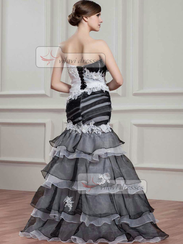Mermaid Strapless Brush Train Organza Flower Tiered Prom Dresses