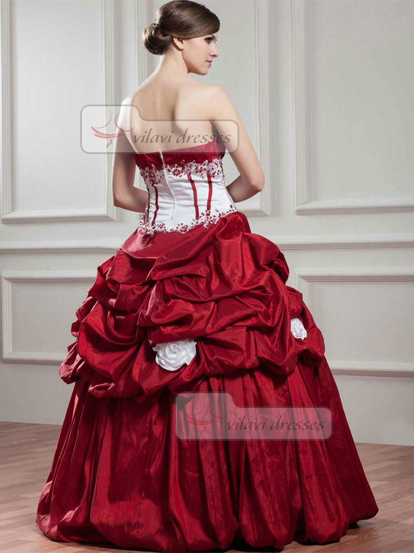 Ball Gown Strapless Floor-length Taffeta Pick-Ups Quinceanera Dresses