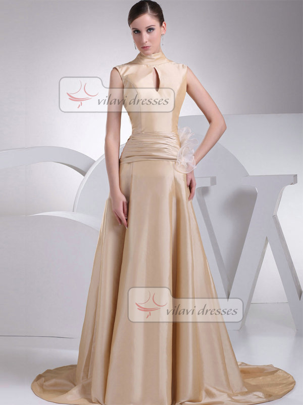 A-line High Neck Brush Train Satin Tiered Evening Dresses