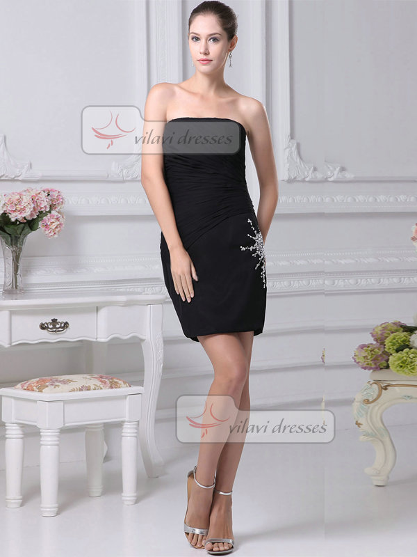 Sheath Strapless Short Elastic Silk-like Satin Cocktail Dresses With Crystal