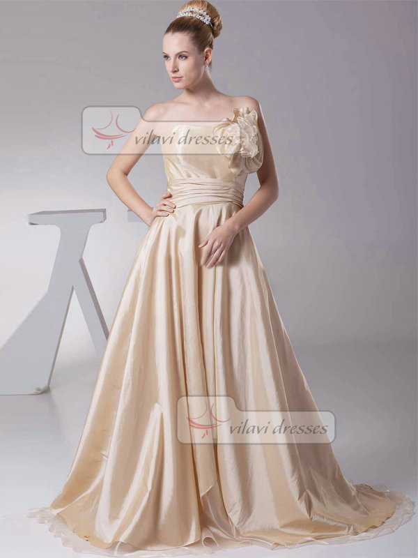 A-line Strapless Brush Train Stretch Satin Bowknot Prom Dresses