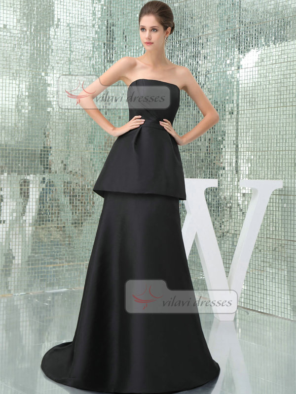 A-line Tube Top Brush Train Elastic Silk-like Satin Side-draped Evening Dresses