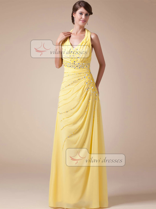 A-line Halter Floor-length Chiffon Beading Crystal Sequin Prom Dresses