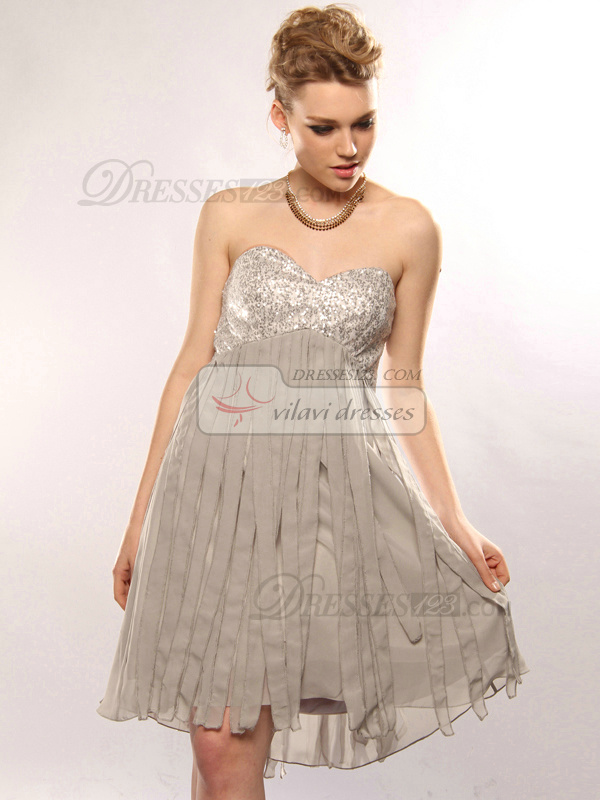 Snazzy A-line Sweetheart Short/Mini Sequin Cocktail/Homecoming Dresses