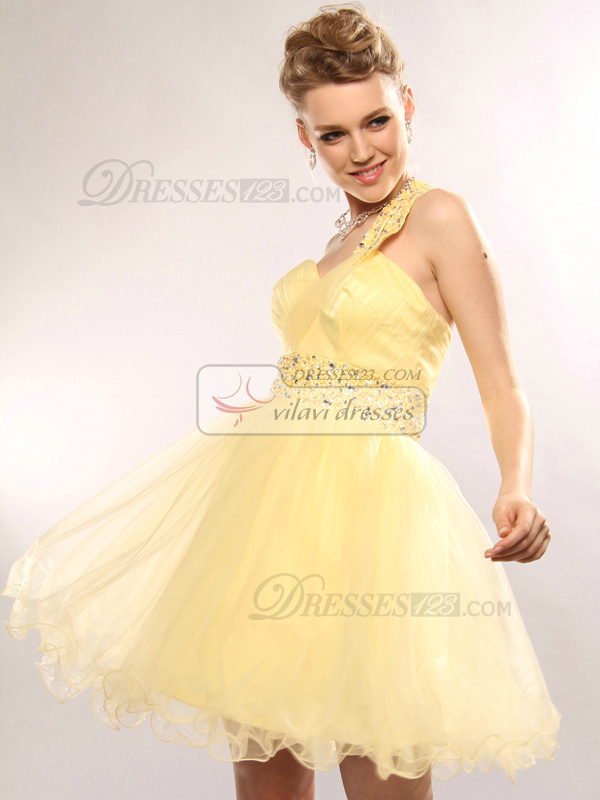 Impressive Princess Tulle Short/Mini Beading Prom/Cocktail Dresses
