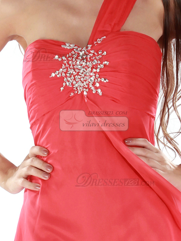 Awesome A-line One shoulder Short/Mini Beading Cocktail/Homecoming Dresses