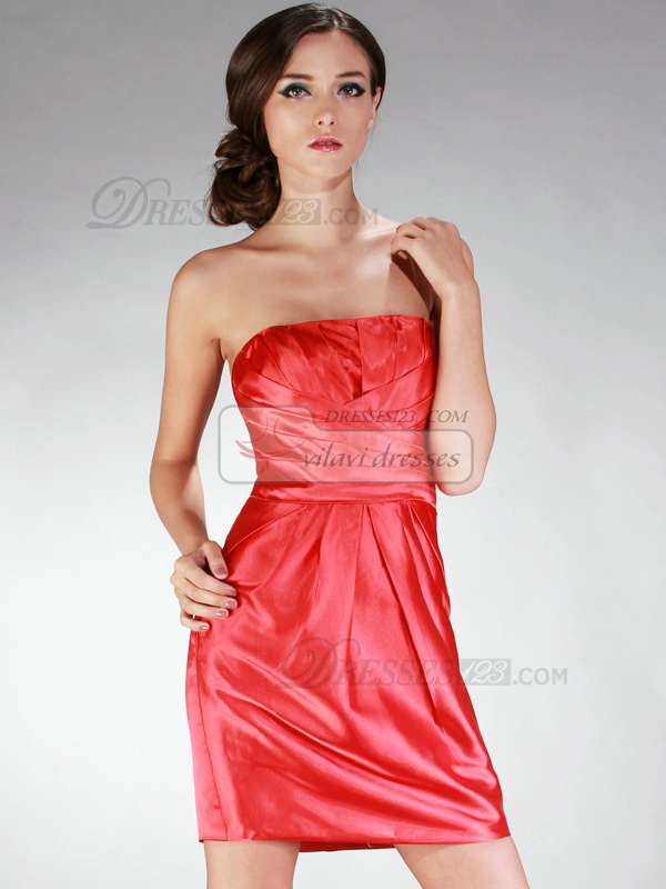 Graceful Sheath/Column Taffeta Short/Mini Draped Cocktail/Homecoming Dresses