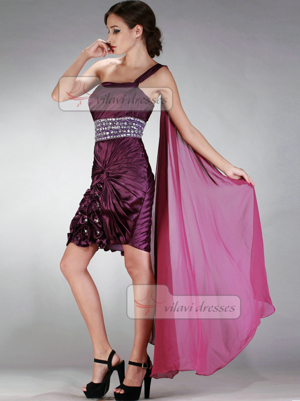Brilliant Sheath/Column One shoulder Short/Mini Flower Prom/Cocktail Dresses