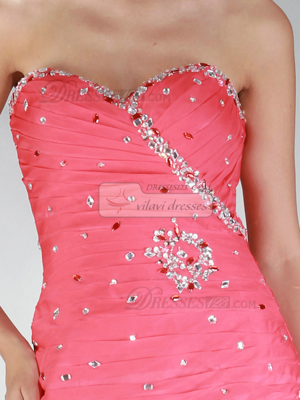 Awesome Sheath/Column Taffeta Sweetheart Strapless Short Crystal Cocktail/Homecoming Dresses