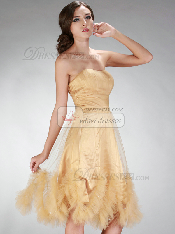 Glamorous Princess Tulle Knee-length Cascading Ruffle Prom/Cocktail Dresses