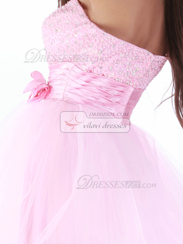 Adorable A-line Sweetheart Short/Mini Flower Cocktail/Homecoming Dresses