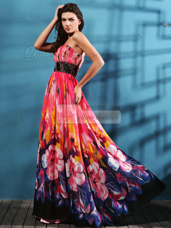 Beautiful A-line Chiffon Floor-length Print Prom/Evening Dresses