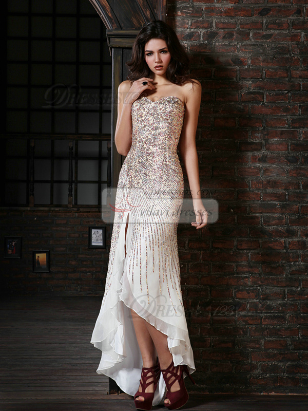 Wonderful Sheath/Column Chiffon Asymmetrical Train Sequin Prom Dresses