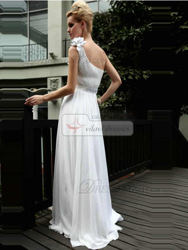 Beautiful A-line One shoulder Floor-length Flower Beading Evening Dresses