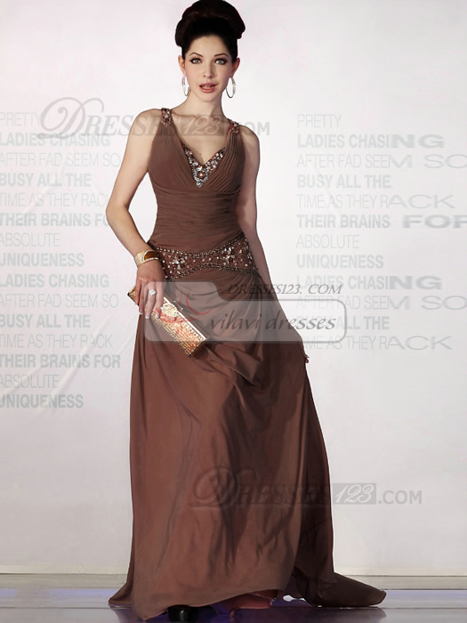 Excellent A-line Chiffon Sweep Beading Evening/Prom Dresses