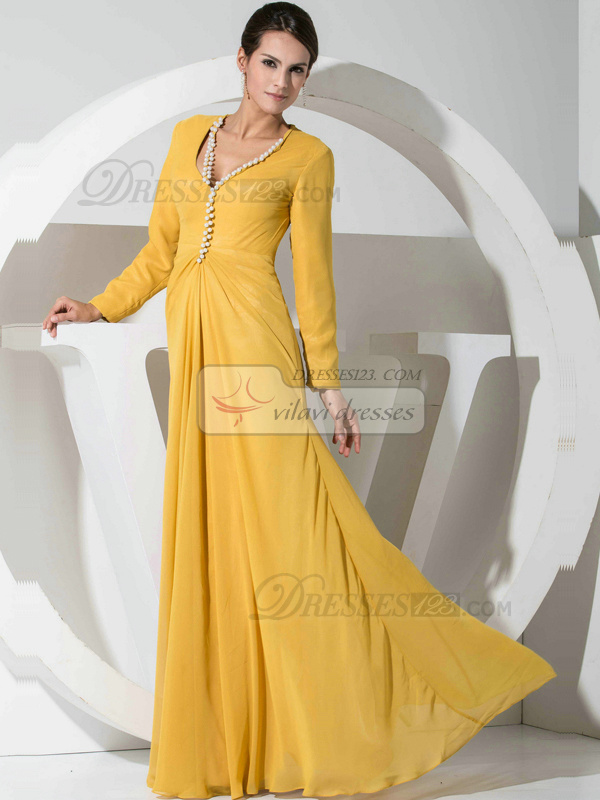Graceful A-line Chiffon Floor-length Beading Evening Dresses