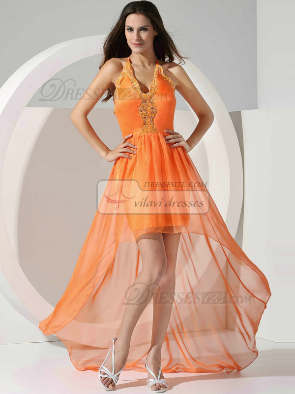 Glamorous A-line Chiffon Asymmetrical Train Lace Prom Dresses