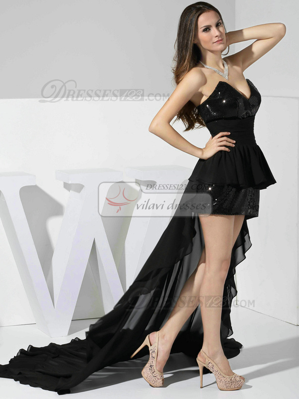 Appealing Sheath/Column Chiffon V-neck Asymmetrical Train Prom Dresses