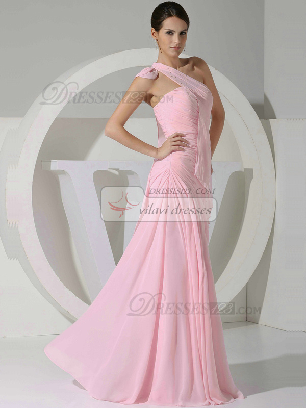 Graceful A-line Chiffon One shoulder Tiered Bridesmaid Dresses