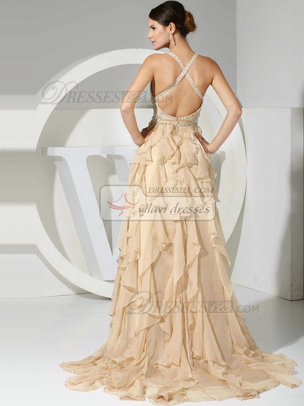 Snazzy A-line Chiffon Sweep Cascading Ruffle Prom/Evening Dresses