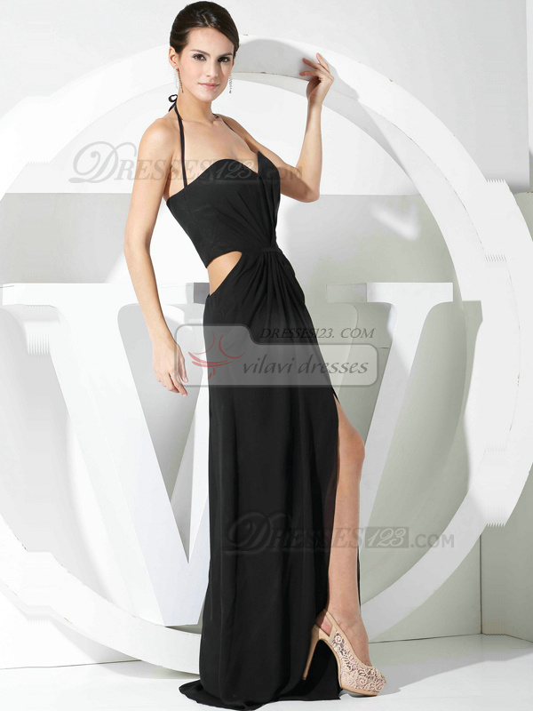 Glorious Sheath/Column Chiffon Halter Split Front Prom Dresses