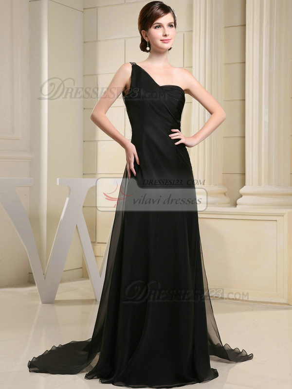 Snazzy A-line One shoulder Sweep Sequin Prom/Evening Dresses