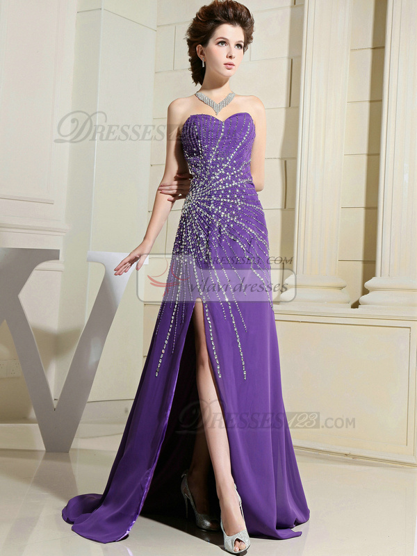 Great A-line Chiffon Sweep Split Front Evening Dresses