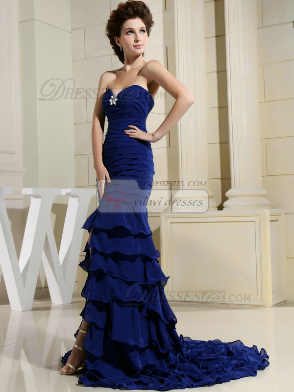 Remarkable Mermaid/Trumpet Sweetheart Court Train Tiered Prom Dresses