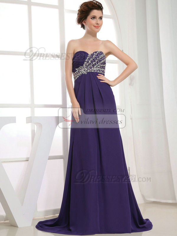 Outstanding A-line Chiffon Sweep Crystal Evening Dresses