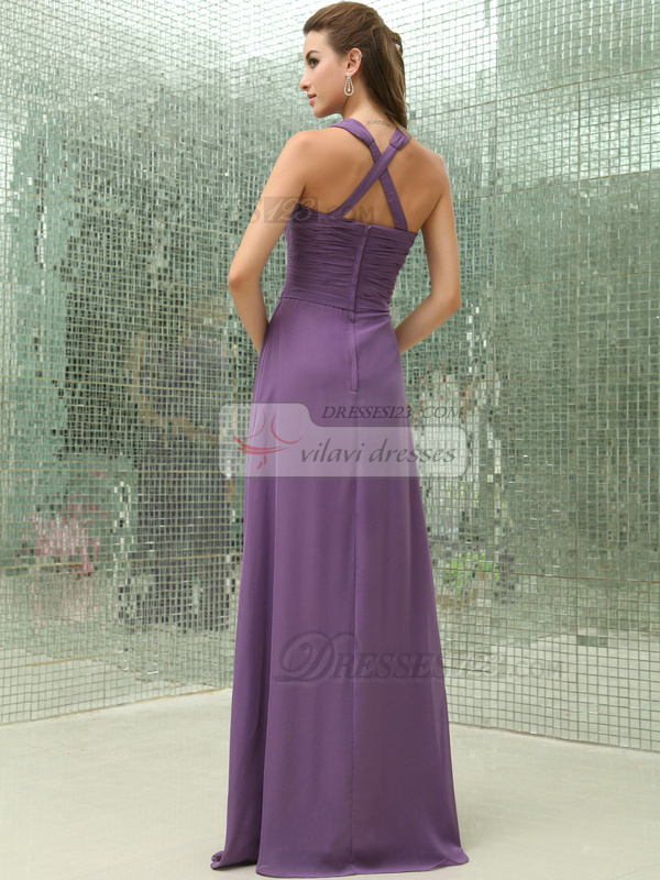 Fabulous Sheath/Column Chiffon Floor-length Tiered Bridesmaid Dresses