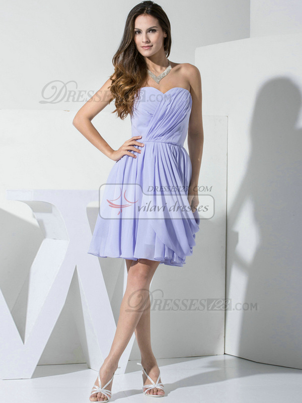 Glamorous A-line Chiffon Sweetheart Draped Bridesmaid Dresses