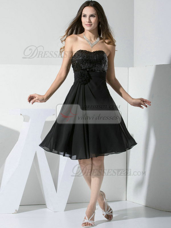 Perfect A-line Chiffon Sweetheart Beading Prom/Cocktail Dresses