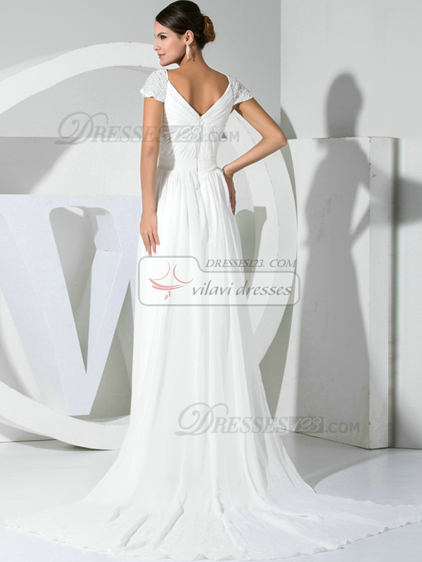 Brilliant A-line Chiffon Straps Beading Evening/Prom Dresses
