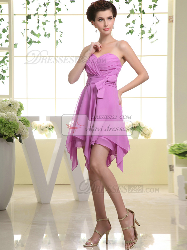 Pure Color Classic A-line Chiffon Sweetheart Bowknot Bridesmaid Dresses