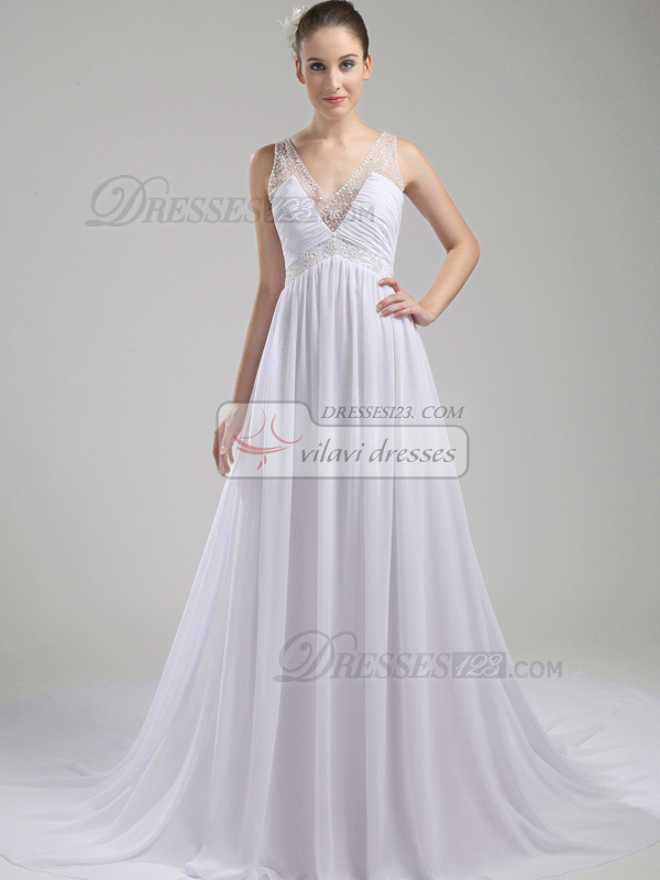 Graceful A-Line Chiffon Chapel Train Draped Evening Dresses