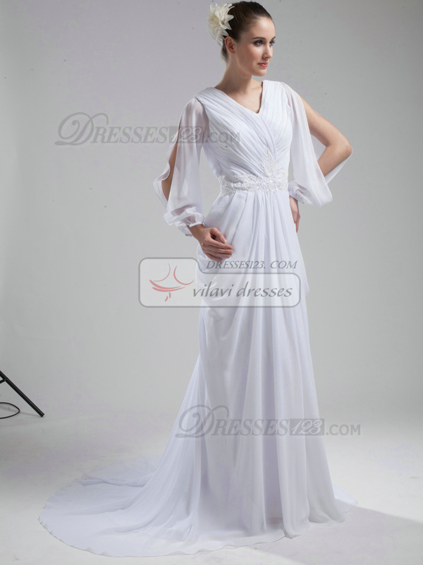 Impressive Sheath/Column Chiffon Sweep Draped Evening Dresses