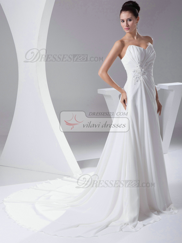 Amazing A-Line Chiffon Court Train Crystal Evening Dresses