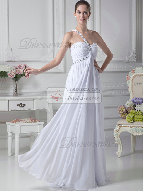 Graceful A-Line One shoulder Floor-length Crystal Evening Dresses