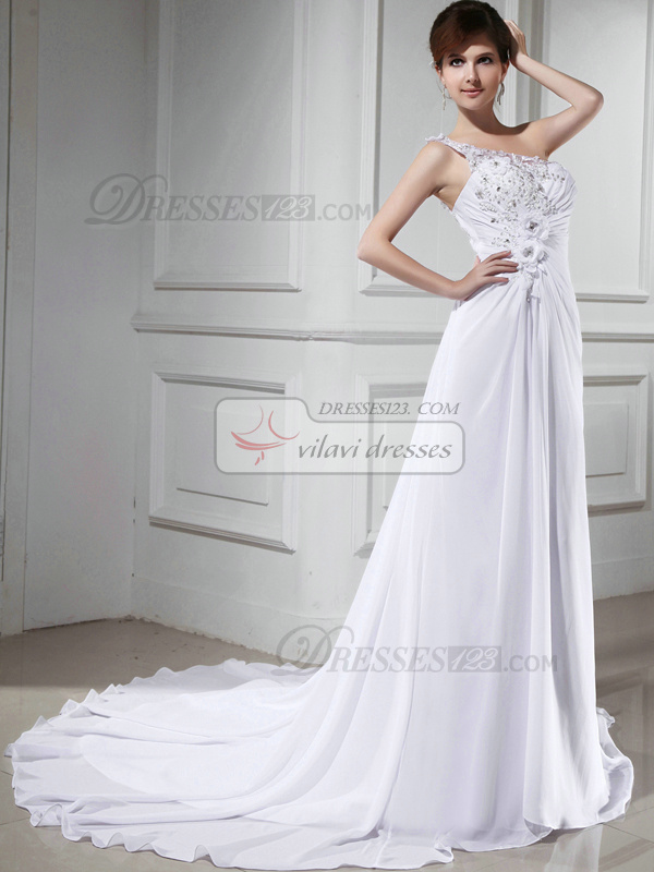 Great A-line One shoulder Court Train Flower Evening Dresses