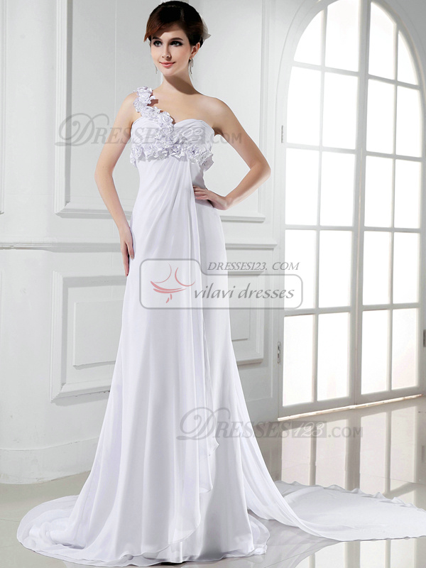 Graceful A-line Chiffon Court Train Flower Evening Dresses