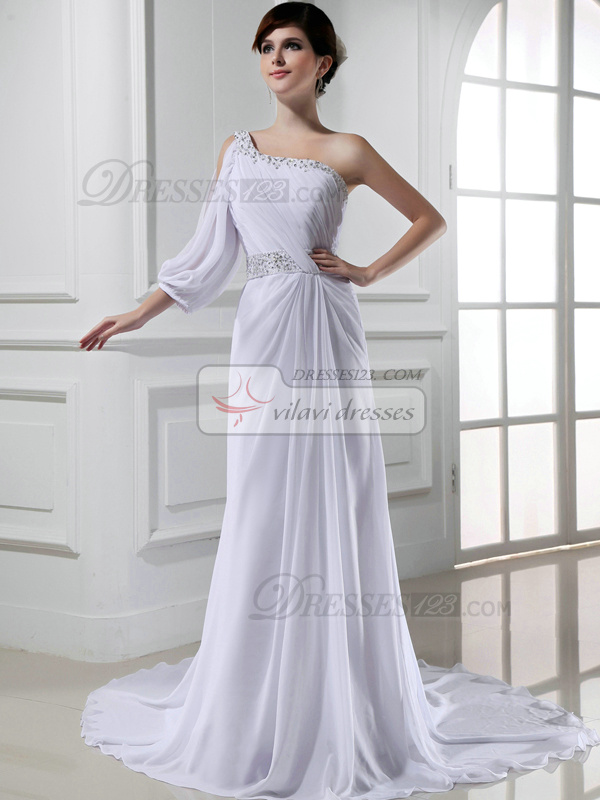 Perfect A-line One shoulder Sweep Draped Evening Dresses