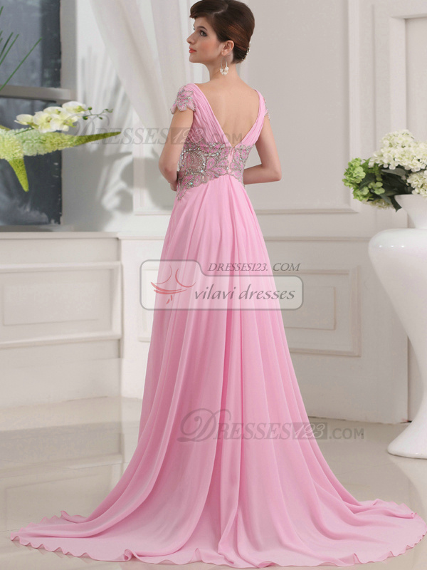 Appealing A-line V-neck Sweep Crystal Evening Dresses