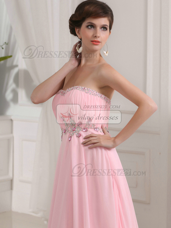 Precious Sheath/Column Chiffon Sweetheart Court Train Evening Dresses